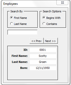 Searchable userform